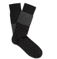 Marcoliani Two-Tone Patterned Cotton-Blend Socks