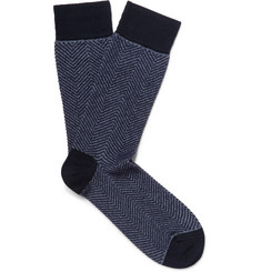 Marcoliani Herringbone Cotton-Blend Socks