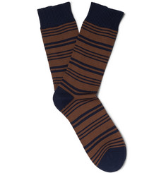 Oliver Spencer Loungewear - Hinton Striped Cotton-Blend Socks