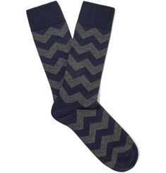 Oliver Spencer Loungewear Cranmer Patterned Stretch Cotton-Blend Socks