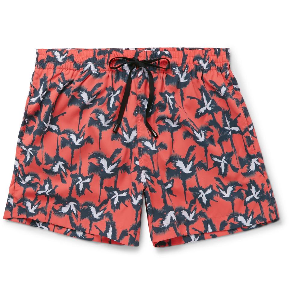 Anton Mid-length Printed Swim Shorts - Coral
