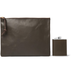 Filson Leather-Bound Hip Flask and Pouch Set