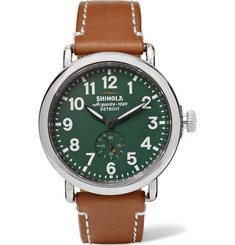 Shinola - The Runwell 41mm Stainless Steel and Leather Watch