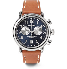 Shinola - The Runwell 41mm Chronograph Stainless Steel and Leather Watch