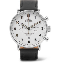 Shinola - The Canfield Chronograph 43mm Stainless Steel and Leather Watch