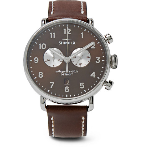 Shinola Canfield Chronograph 43Mm Stainless Steel And Leather Watch - Brown - One Siz