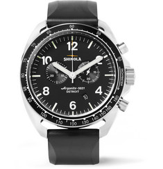 Shinola - The Rambler Tachymeter Chronograph 44mm Stainless Steel and Rubber Watch