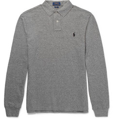 Polo Ralph Lauren Slim-Fit Knitted Mélange Cotton Polo Shirt