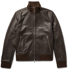 Officine Generale - Laurent Full-Grain Leather Bomber Jacket