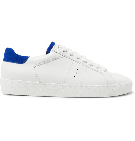 J.M. WESTON Suede-Trimmed Leather Sneakers - White