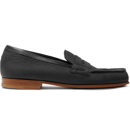 J.M. WESTON 281 Le Moc Pebble-Grain Leather Loafers - Black