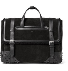 Tod's Leather and Shearling-Trimmed Suede Holdall