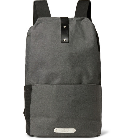 Brooks England - Dalston Leather-Trimmed Canvas Backpack - Charcoal