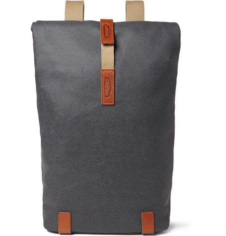 Brooks England - Pickwick Small Leather-Trimmed Cotton-Canvas Backpack - Anthracite