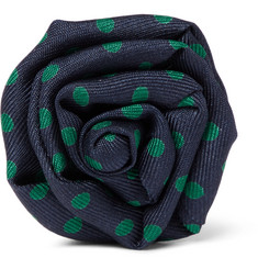 Charvet - Flower Polka-Dot Silk-Faille Lapel Pin