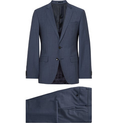 Hugo Boss Blue Slim-Fit Virgin Wool and Mohair-Blend Sharkskin Suit