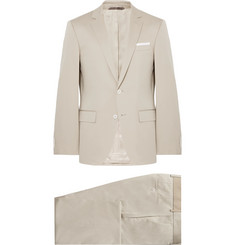 Hugo Boss Beige Hutson Gander Slim-Fit Stretch-Cotton Suit
