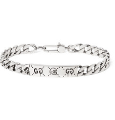 Gucci GucciGhost Engraved Sterling Silver ID Bracelet