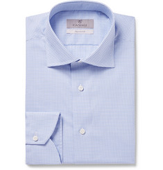 Canali Light-Blue Slim-Fit Cutaway-Collar Checked Cotton Shirt