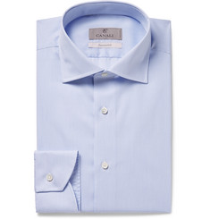 Canali - Light-Blue Slim-Fit Cutaway-Collar Striped Cotton Shirt