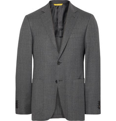 Canali Grey Kei Travel Slim-Fit Unstructured Water-Resistant Wool Blazer