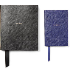 Smythson Wafer Top Dog and Premier Notes Cross-Grain Leather Notebook Set