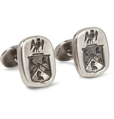 Foundwell Vintage 1950s Engraved Burnished Sterling Silver Cufflinks