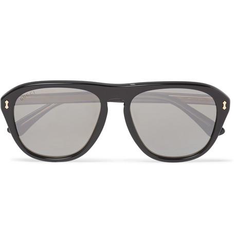 Gucci Aviator-Style Acetate Mirrored Sunglasses - Black - One Siz