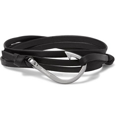 Miansai Hook Leather Silver-Plated Wrap Bracelet
