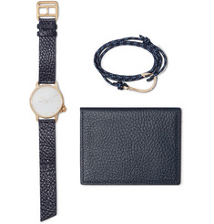 Miansai Gold-Plated Watch, Cord Wrap Bracelet and Pebble-Grain Leather Wallet Set