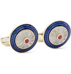 Deakin & Francis - 18-Karat Gold, Vitreous Enamel and Ruby Cufflinks