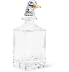 Deakin & Francis + Dartington Duck Crystal Enamelled Silver-Plated Decanter