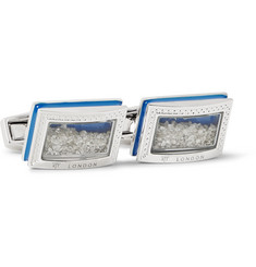 TATEOSSIAN Enamelled Rhodium-Plated Diamond Cufflinks