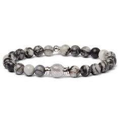 TATEOSSIAN - Stonehenge Spiderweb Jasper Ruthenium and Rhodium-Plated Bead Bracelet