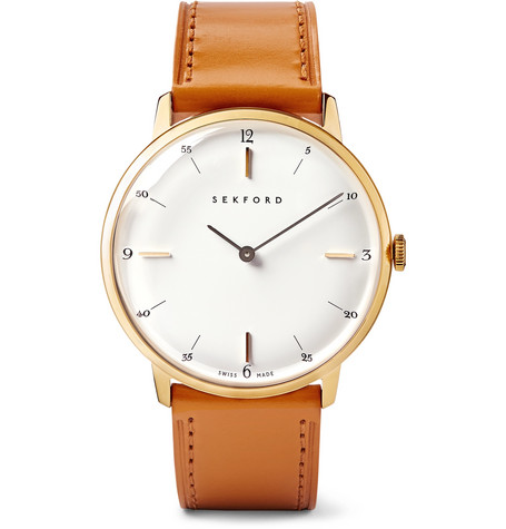 SEKFORD Type 1A Gold Pvd-Coated Stainless Steel And Leather Watch - White - One Siz