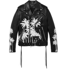 AMIRI Embellished Hand-Painted Vitellino Leather Biker Jacket
