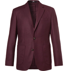 Hardy Amies - Plum Slim-Fit Unstructured Cashmere Blazer