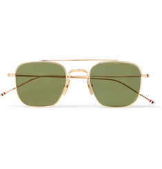 Thom Browne Square-Frame Aviator-Style Gold-Tone Sunglasses