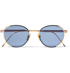 Thom Browne Round-Frame Enamelled Gold-Tone Sunglasses