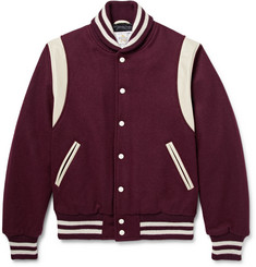 Golden Bear Leather-Trimmed Virgin Wool-Blend Varsity Jacket
