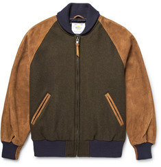 Golden Bear Virgin Wool-Blend and Suede Bomber Jacket