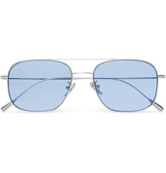 Cutler and Gross Square-Frame Aviator-Style Palladium-Plated Sunglasses