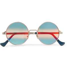 Cutler and Gross Round-Frame Silver-Tone Sunglasses