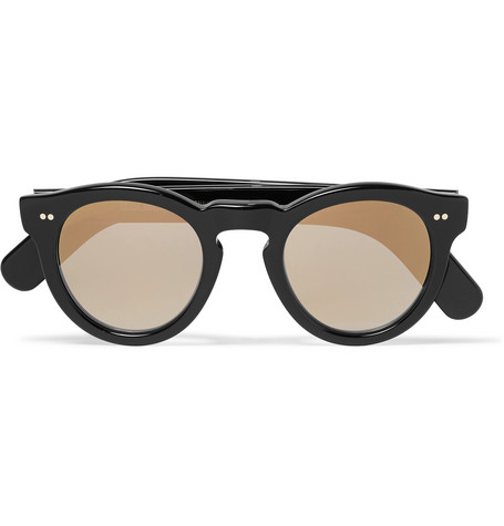 Cutler And Gross Round-Frame Acetate Mirrored Sunglasses In Black