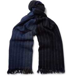 Begg & Co Kishorn Pinstriped Colour-Block Cashmere Scarf