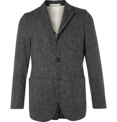 Beams Plus Grey Slim-Fit Harris Tweed Wool Blazer