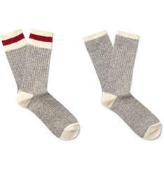 Beams Plus Two-Pack Ribbed Cotton-Blend Socks