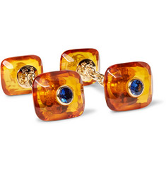 Trianon - Amber, 18-Karat Gold and Sapphire Cufflinks