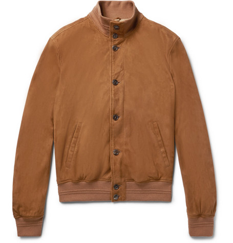 Eero Suede Bomber Jacket - Brown
