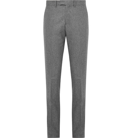 salle privee male grey rocco slimfit melange woolflannel suit trousers